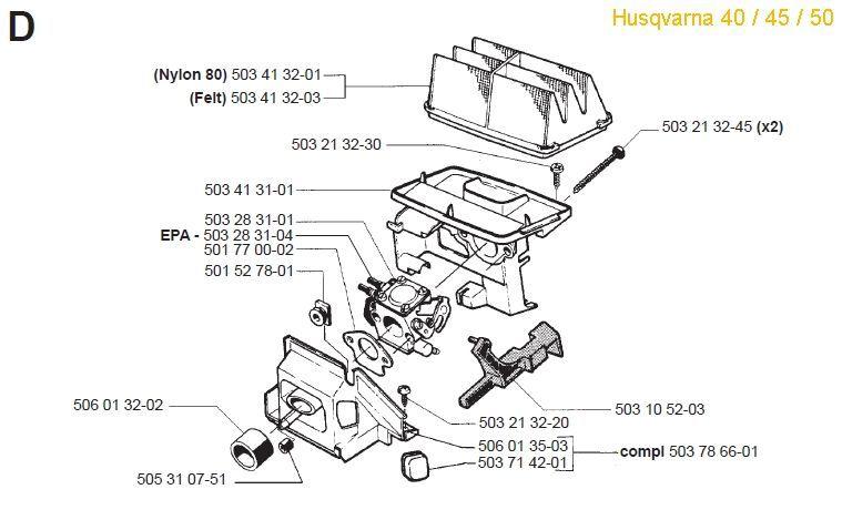 Husqvarna láncfűrész karburátor közdarab 40 / 45